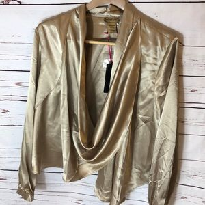 Gold Charmeuse asymmetrical drape-front top